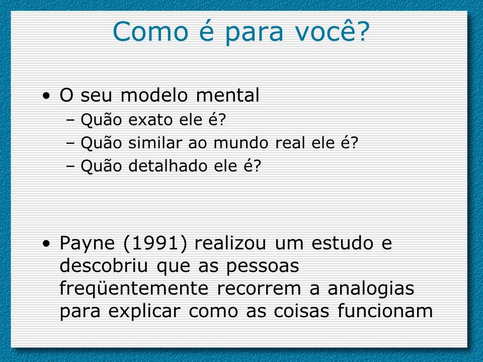 Como é para você? O seu modelo mental –Quão exato ele é? –Quão similar ao mundo real ele é? –Quão detalhado ele é? Payne (1991) realizou um estudo e d