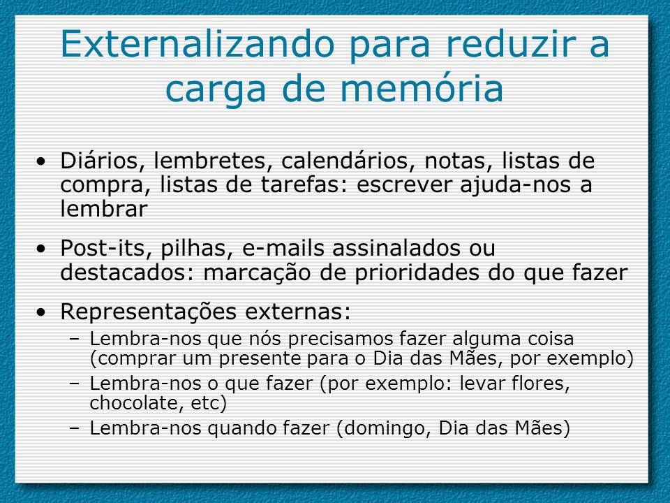 Externalizando para reduzir a carga de memória Diários, lembretes, calendários, notas, listas de compra, listas de tarefas: escrever ajuda-nos a lembr