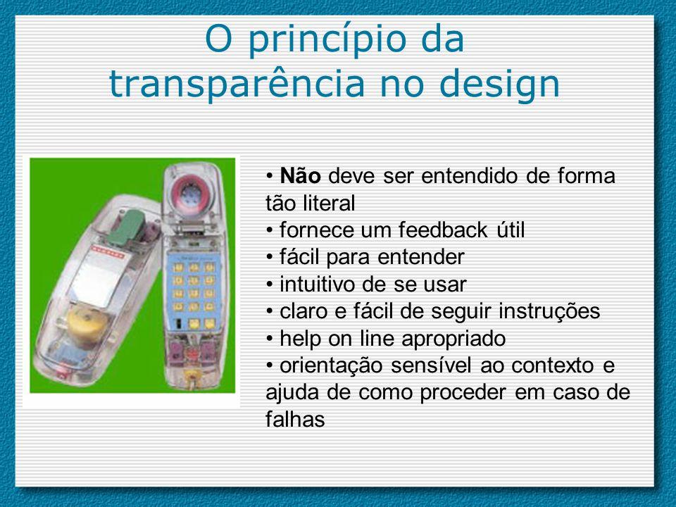 O princípio da transparência no design Não deve ser entendido de forma tão literal fornece um feedback útil fácil para entender intuitivo de se usar c