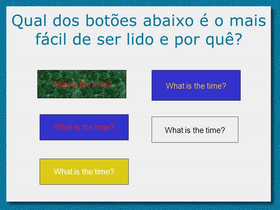 Qual dos botões abaixo é o mais fácil de ser lido e por quê? What is the time?