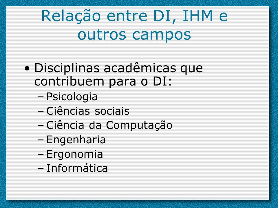 Disciplinas acadêmicas que contribuem para o DI: –Psicologia –Ciências sociais –Ciência da Computação –Engenharia –Ergonomia –Informática Relação entr