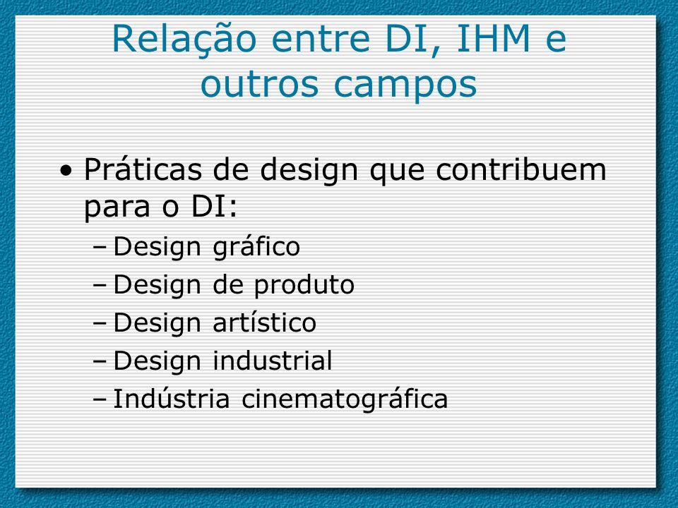 Práticas de design que contribuem para o DI: –Design gráfico –Design de produto –Design artístico –Design industrial –Indústria cinematográfica