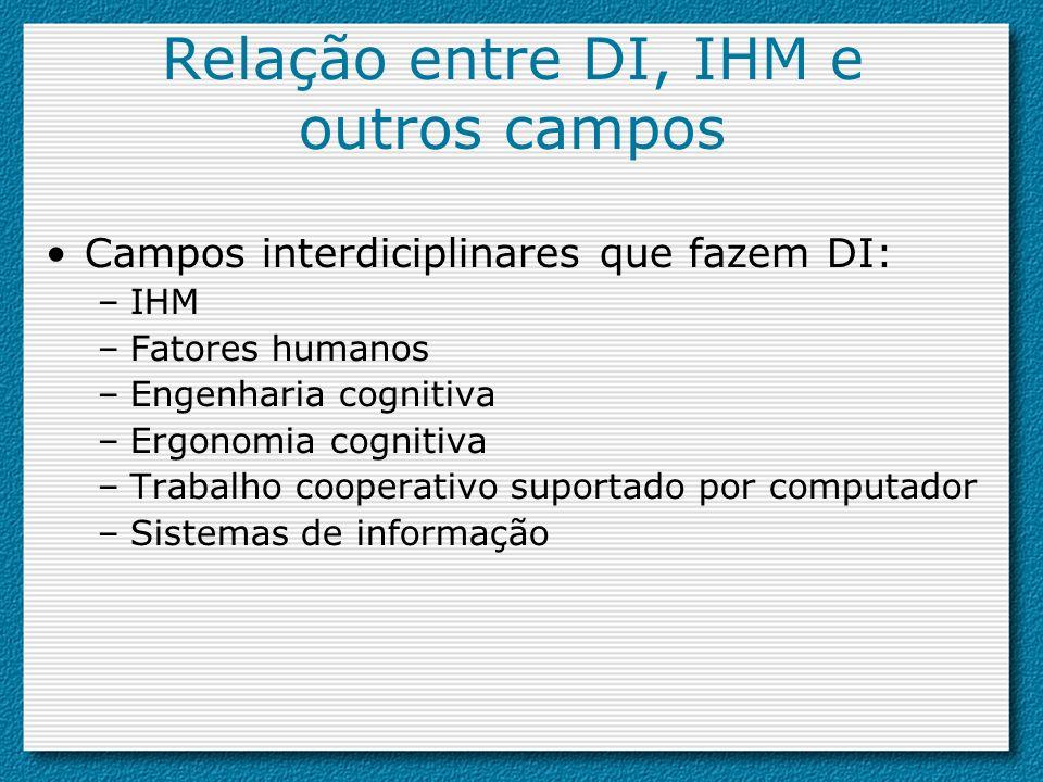 Relação entre DI, IHM e outros campos Campos interdiciplinares que fazem DI: –IHM –Fatores humanos –Engenharia cognitiva –Ergonomia cognitiva –Trabalh