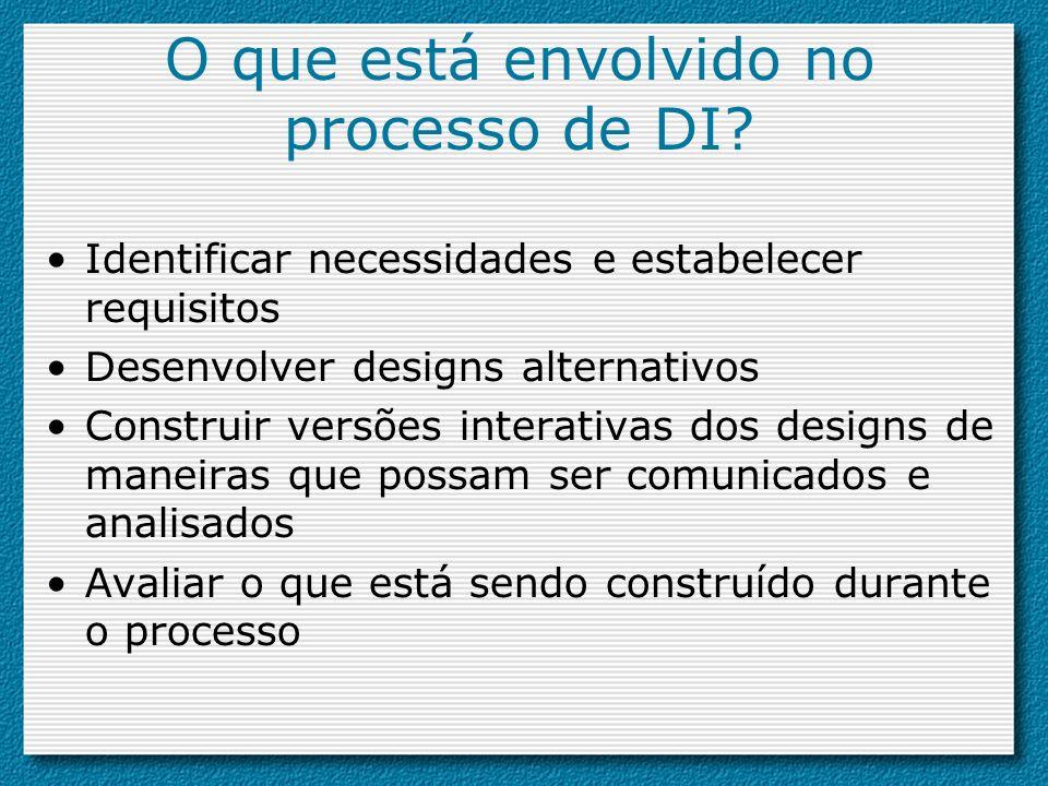 O que está envolvido no processo de DI? Identificar necessidades e estabelecer requisitos Desenvolver designs alternativos Construir versões interativ