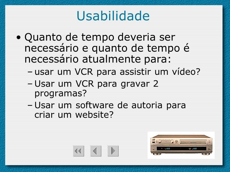 Usabilidade Quanto de tempo deveria ser necessário e quanto de tempo é necessário atualmente para: –usar um VCR para assistir um vídeo? –Usar um VCR p