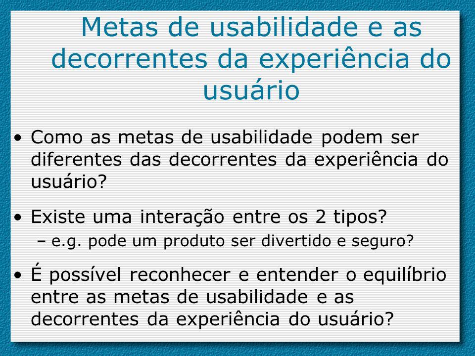 Metas de usabilidade e as decorrentes da experiência do usuário Como as metas de usabilidade podem ser diferentes das decorrentes da experiência do us
