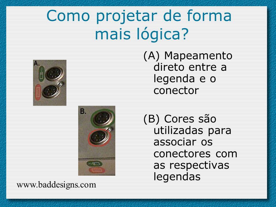 Como projetar de forma mais lógica? (A) Mapeamento direto entre a legenda e o conector (B) Cores são utilizadas para associar os conectores com as res