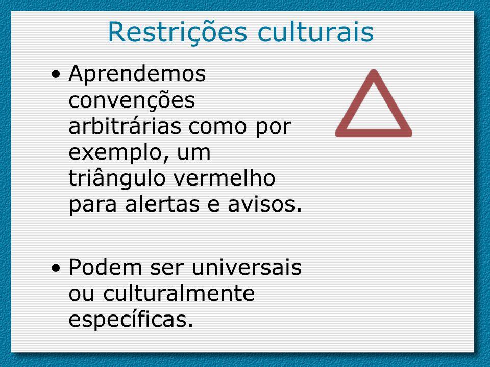 Restrições culturais Aprendemos convenções arbitrárias como por exemplo, um triângulo vermelho para alertas e avisos. Podem ser universais ou cultural