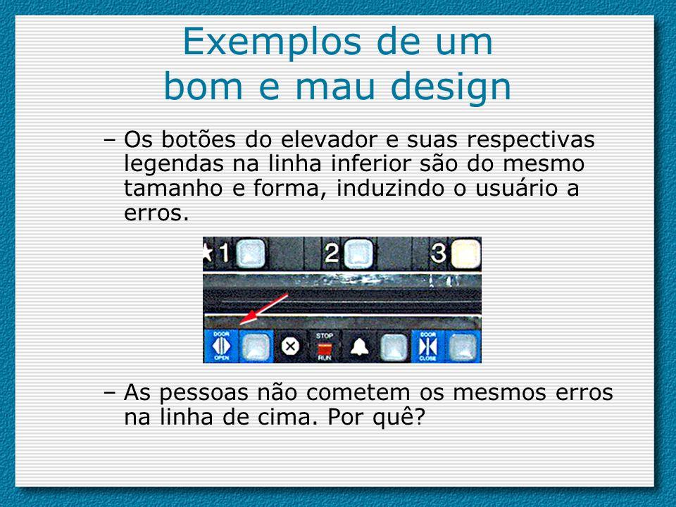 Exemplos de um bom e mau design –Os botões do elevador e suas respectivas legendas na linha inferior são do mesmo tamanho e forma, induzindo o usuário