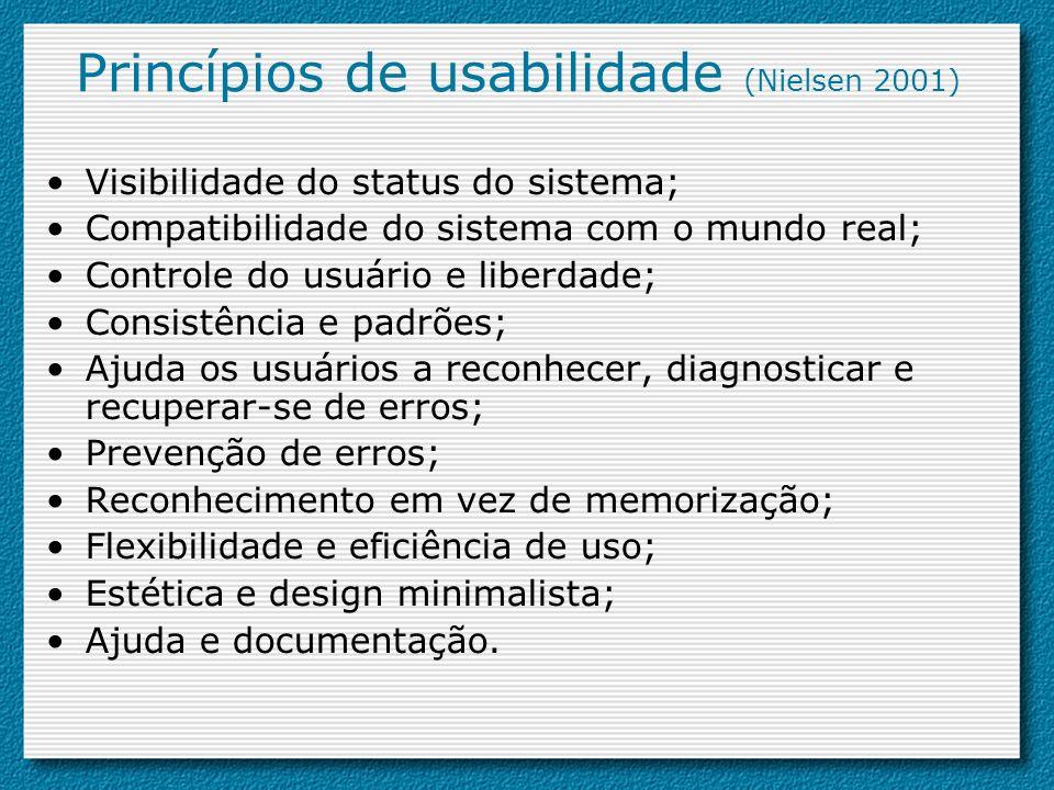 Princípios de usabilidade (Nielsen 2001) Visibilidade do status do sistema; Compatibilidade do sistema com o mundo real; Controle do usuário e liberda