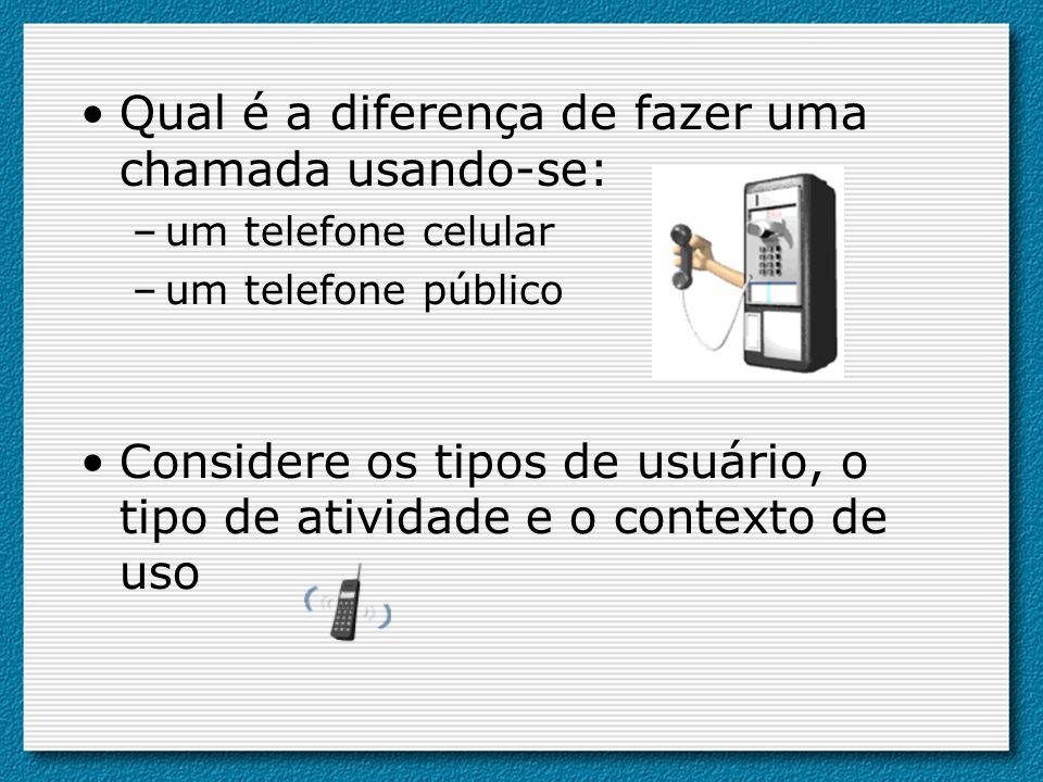 Qual é a diferença de fazer uma chamada usando-se: –um telefone celular –um telefone público Considere os tipos de usuário, o tipo de atividade e o co