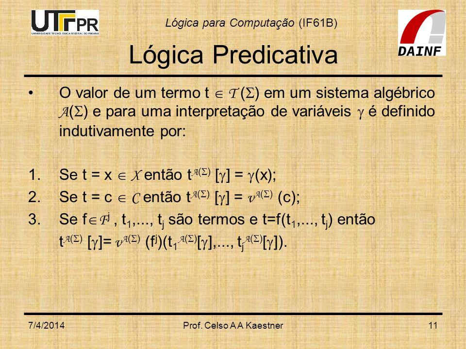 Lógica para Computação (IF61B) 7/4/2014Prof. Celso A A Kaestner11 Lógica Predicativa O valor de um termo t T ( ) em um sistema algébrico A ( ) e para