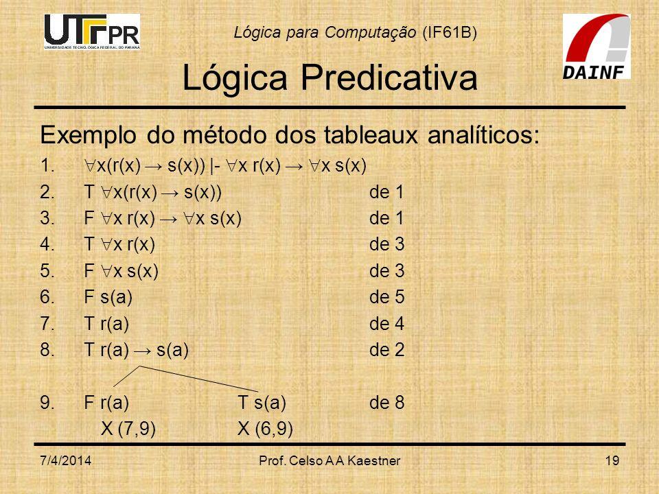 Lógica para Computação (IF61B) 7/4/2014Prof. Celso A A Kaestner19 Lógica Predicativa Exemplo do método dos tableaux analíticos: 1. x(r(x) s(x))  - x r