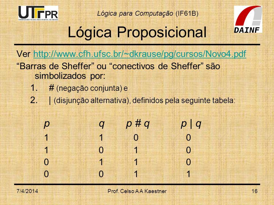 Lógica para Computação (IF61B) 7/4/2014Prof. Celso A A Kaestner16 Lógica Proposicional Ver http://www.cfh.ufsc.br/~dkrause/pg/cursos/Novo4.pdfhttp://w