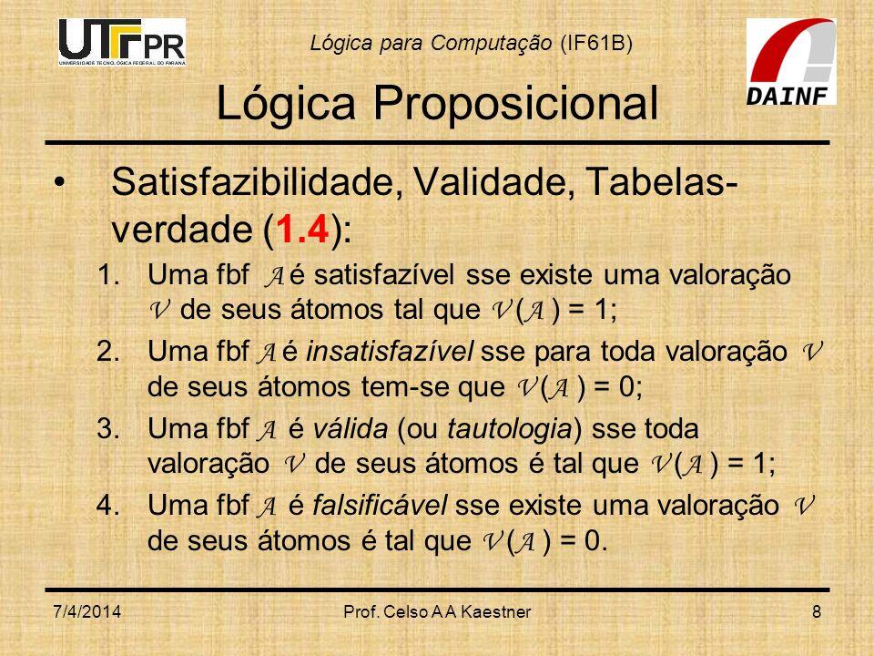 Lógica para Computação (IF61B) 7/4/2014Prof.