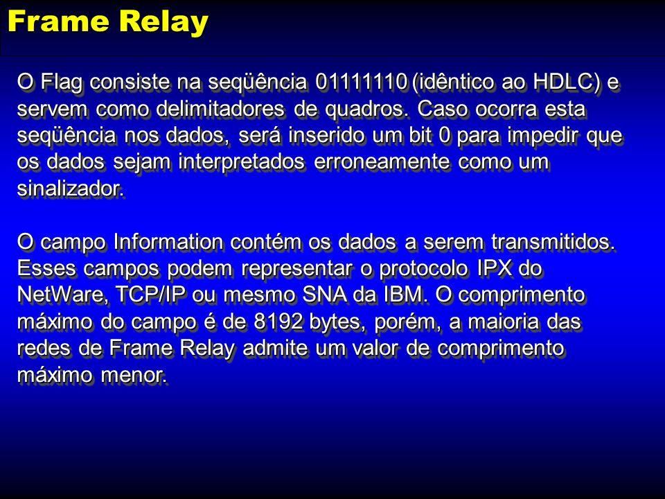 Frame Relay O Flag consiste na seqüência 01111110 (idêntico ao HDLC) e servem como delimitadores de quadros. Caso ocorra esta seqüência nos dados, ser
