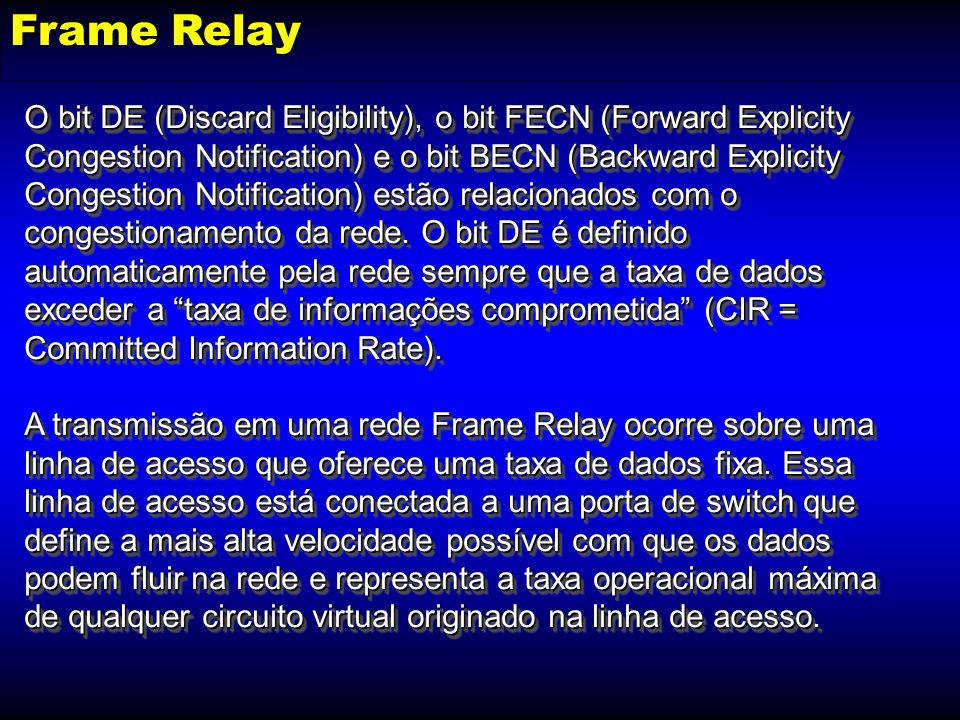 Frame Relay O bit DE (Discard Eligibility), o bit FECN (Forward Explicity Congestion Notification) e o bit BECN (Backward Explicity Congestion Notific