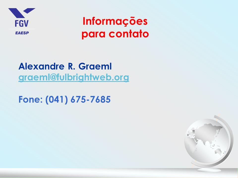 Informações para contato Alexandre R. Graeml graeml@fulbrightweb.org Fone: (041) 675-7685