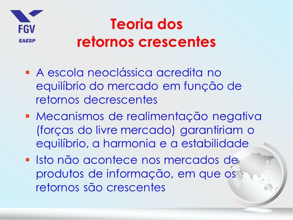Teoria dos retornos crescentes §A escola neoclássica acredita no equilíbrio do mercado em função de retornos decrescentes §Mecanismos de realimentação