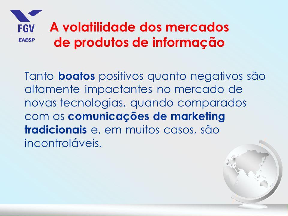 A volatilidade dos mercados de produtos de informação Tanto boatos positivos quanto negativos são altamente impactantes no mercado de novas tecnologia