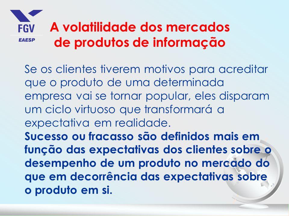 A volatilidade dos mercados de produtos de informação Se os clientes tiverem motivos para acreditar que o produto de uma determinada empresa vai se to