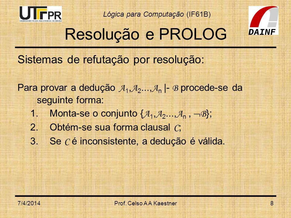 Lógica para Computação (IF61B) 7/4/2014Prof. Celso A A Kaestner8 Resolução e PROLOG Sistemas de refutação por resolução: Para provar a dedução A 1, A