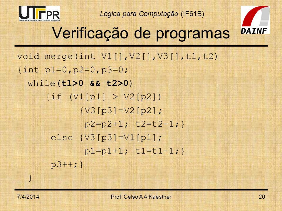 Lógica para Computação (IF61B) Verificação de programas void merge(int V1[],V2[],V3[],t1,t2) {int p1=0,p2=0,p3=0; while(t1>0 && t2>0) {if (V1[p1] > V2[p2]) {V3[p3]=V2[p2]; p2=p2+1; t2=t2-1;} else {V3[p3]=V1[p1]; p1=p1+1; t1=t1-1;} p3++;} } 7/4/2014Prof.