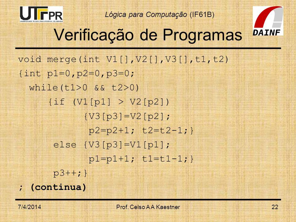 Lógica para Computação (IF61B) Verificação de Programas void merge(int V1[],V2[],V3[],t1,t2) {int p1=0,p2=0,p3=0; while(t1>0 && t2>0) {if (V1[p1] > V2[p2]) {V3[p3]=V2[p2]; p2=p2+1; t2=t2-1;} else {V3[p3]=V1[p1]; p1=p1+1; t1=t1-1;} p3++;} ;(continua) 7/4/2014Prof.