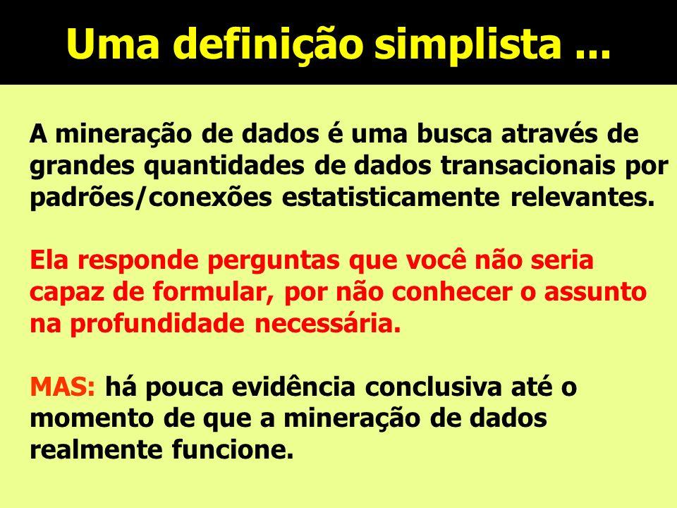 Uma definição simplista... A mineração de dados é uma busca através de grandes quantidades de dados transacionais por padrões/conexões estatisticament