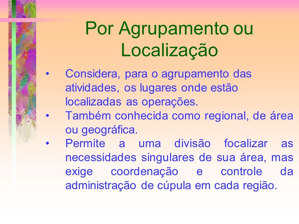 Por Agrupamento ou Localização Considera, para o agrupamento das atividades, os lugares onde estão localizadas as operações. Também conhecida como reg