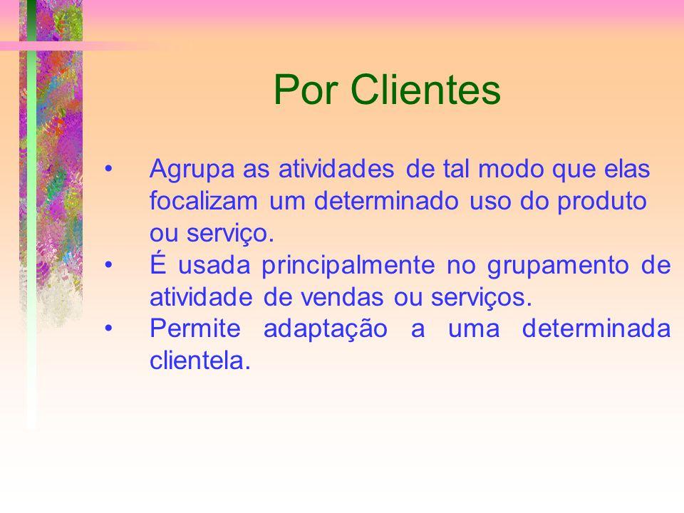 Por Clientes Agrupa as atividades de tal modo que elas focalizam um determinado uso do produto ou serviço. É usada principalmente no grupamento de ati