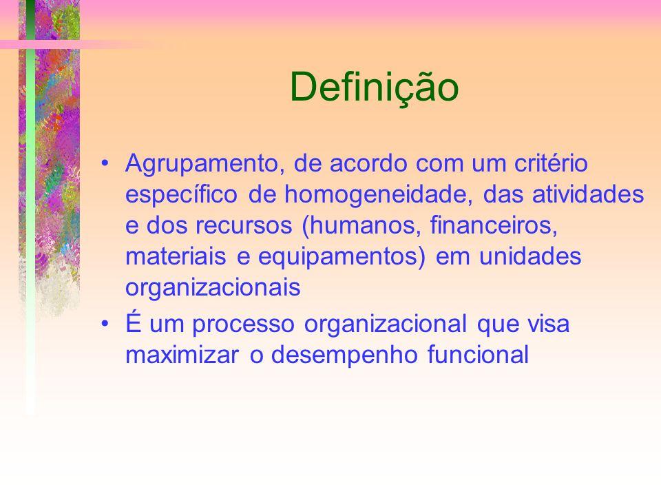 Definição Agrupamento, de acordo com um critério específico de homogeneidade, das atividades e dos recursos (humanos, financeiros, materiais e equipam