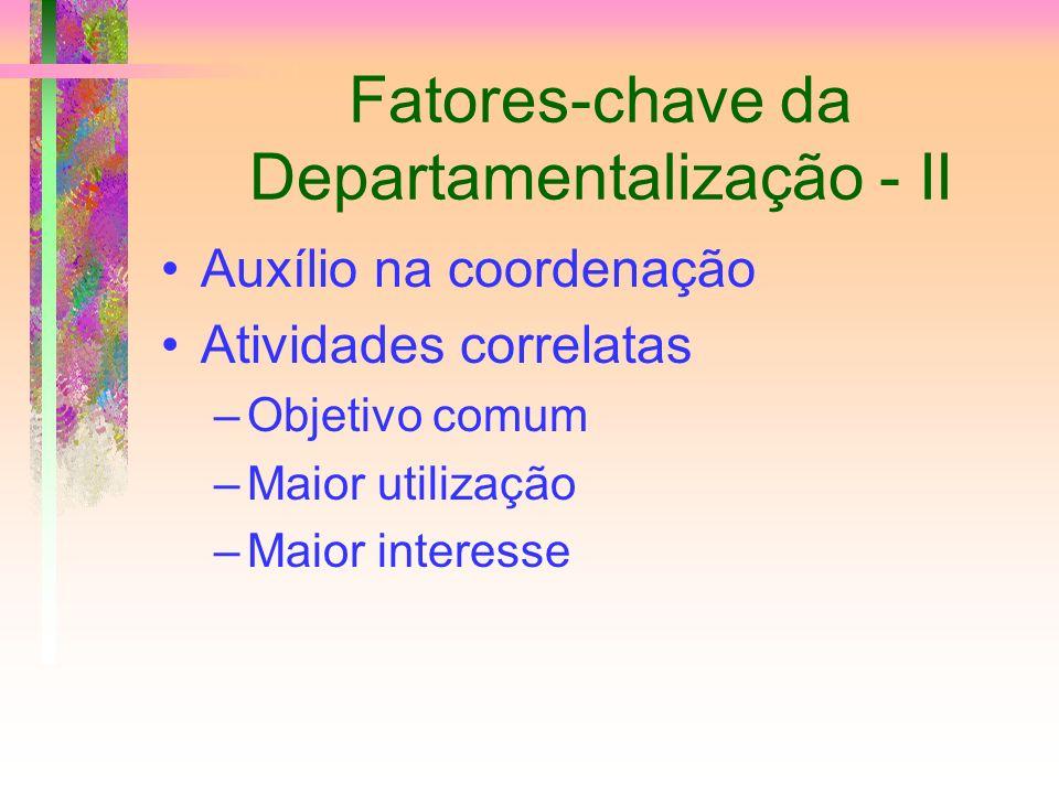 Fatores-chave da Departamentalização - II Auxílio na coordenação Atividades correlatas –Objetivo comum –Maior utilização –Maior interesse