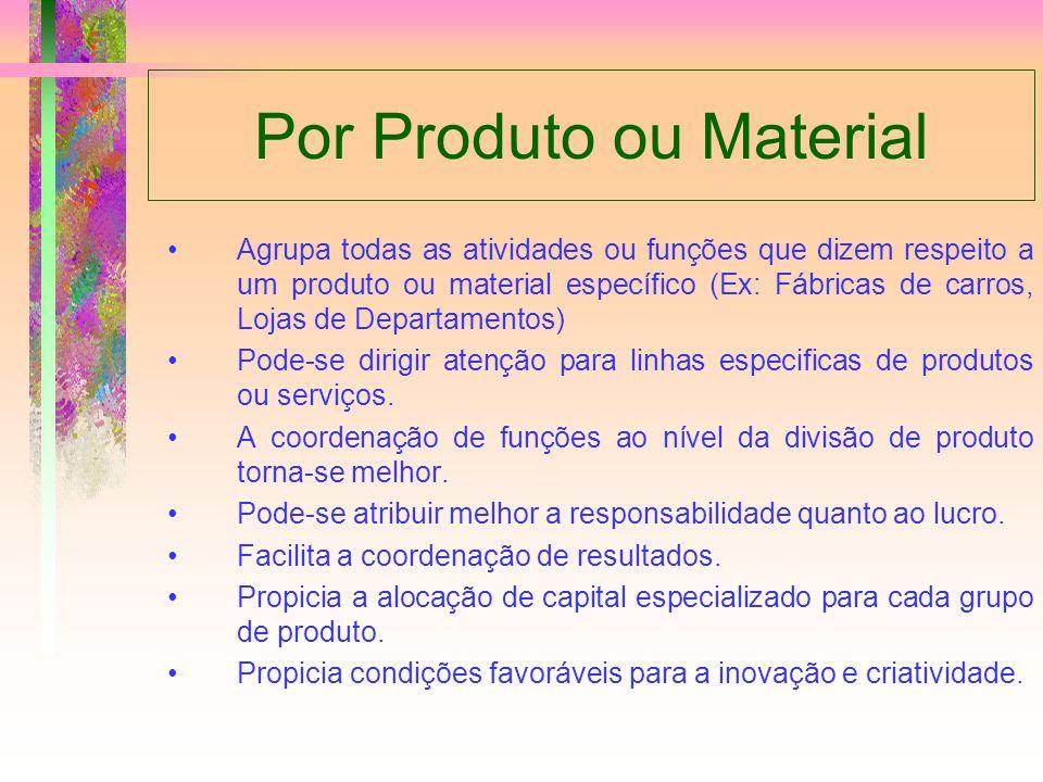 Por Produto ou Material Agrupa todas as atividades ou funções que dizem respeito a um produto ou material específico (Ex: Fábricas de carros, Lojas de