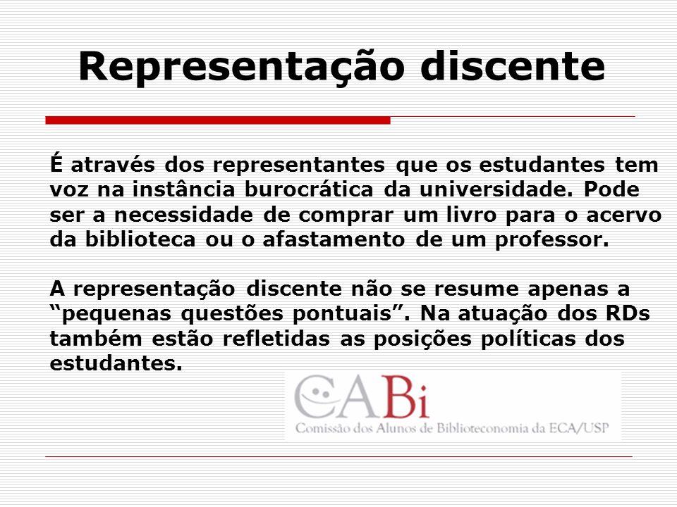 Representação discente É através dos representantes que os estudantes tem voz na instância burocrática da universidade. Pode ser a necessidade de comp