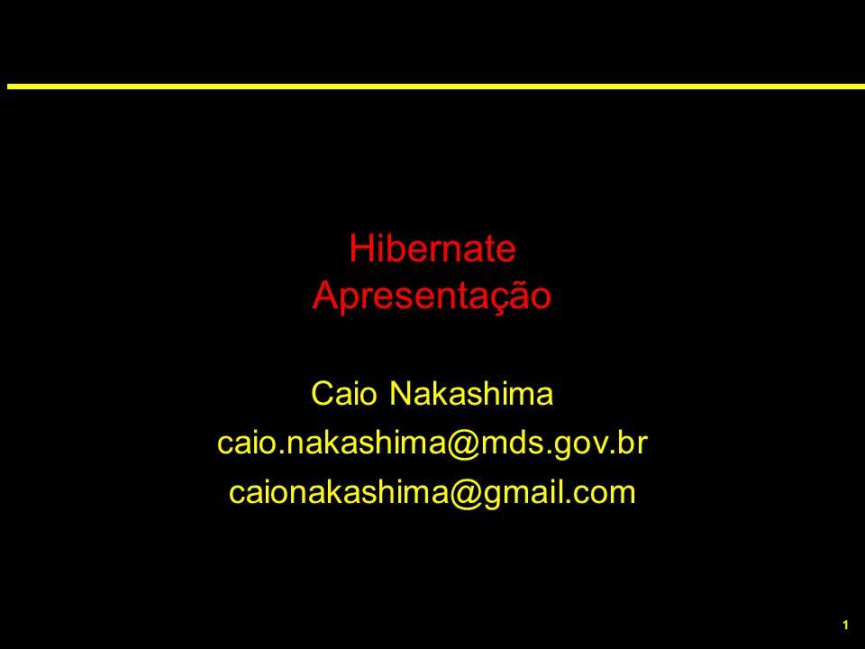 1 Hibernate Apresentação Caio Nakashima caio.nakashima@mds.gov.br caionakashima@gmail.com
