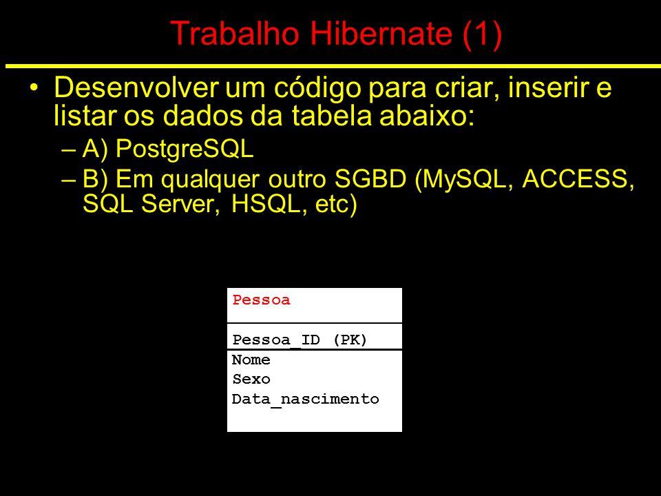 Trabalho Hibernate (1) Desenvolver um código para criar, inserir e listar os dados da tabela abaixo: –A) PostgreSQL –B) Em qualquer outro SGBD (MySQL,