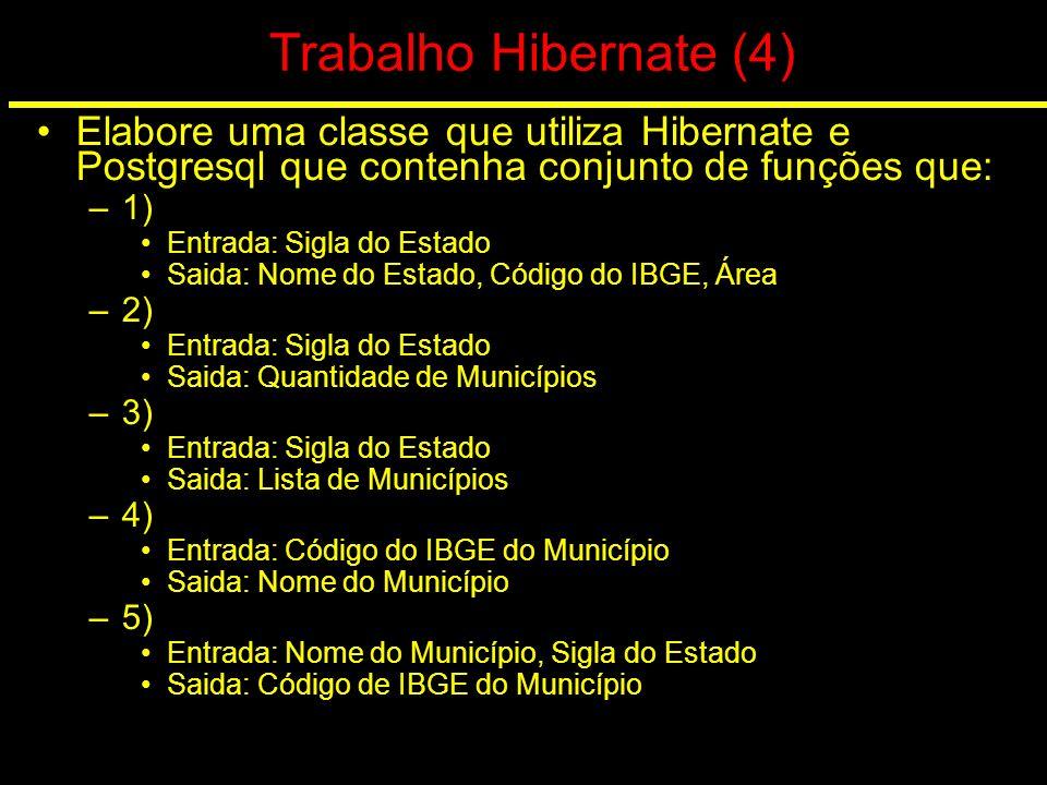 Trabalho Hibernate (4) Elabore uma classe que utiliza Hibernate e Postgresql que contenha conjunto de funções que: –1) Entrada: Sigla do Estado Saida: