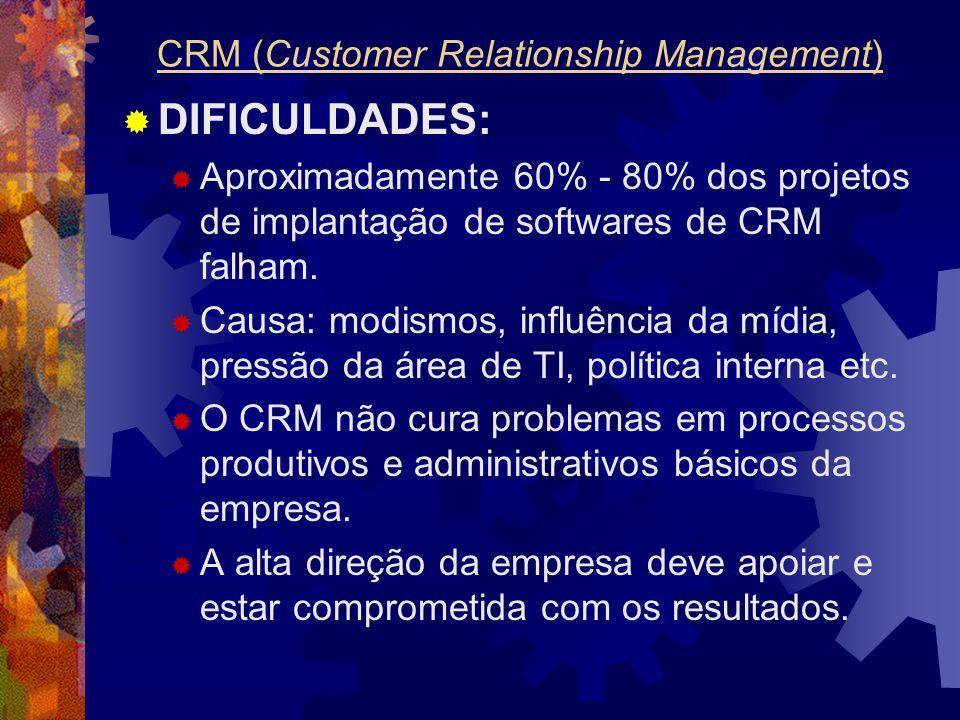 DIFICULDADES: Aproximadamente 60% - 80% dos projetos de implantação de softwares de CRM falham. Causa: modismos, influência da mídia, pressão da área