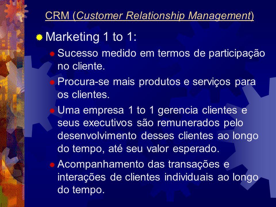 Marketing 1 to 1: Sucesso medido em termos de participação no cliente. Procura-se mais produtos e serviços para os clientes. Uma empresa 1 to 1 gerenc