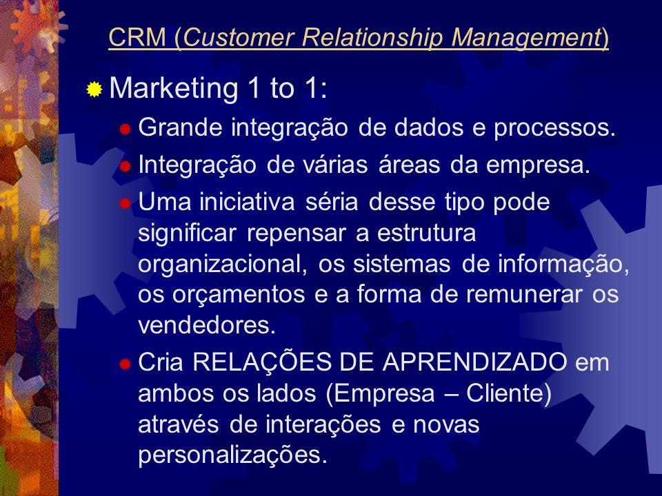 Marketing 1 to 1: Grande integração de dados e processos. Integração de várias áreas da empresa. Uma iniciativa séria desse tipo pode significar repen