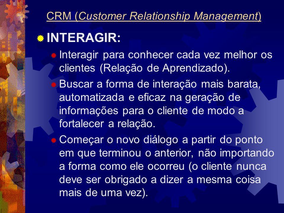 INTERAGIR: Interagir para conhecer cada vez melhor os clientes (Relação de Aprendizado). Buscar a forma de interação mais barata, automatizada e efica