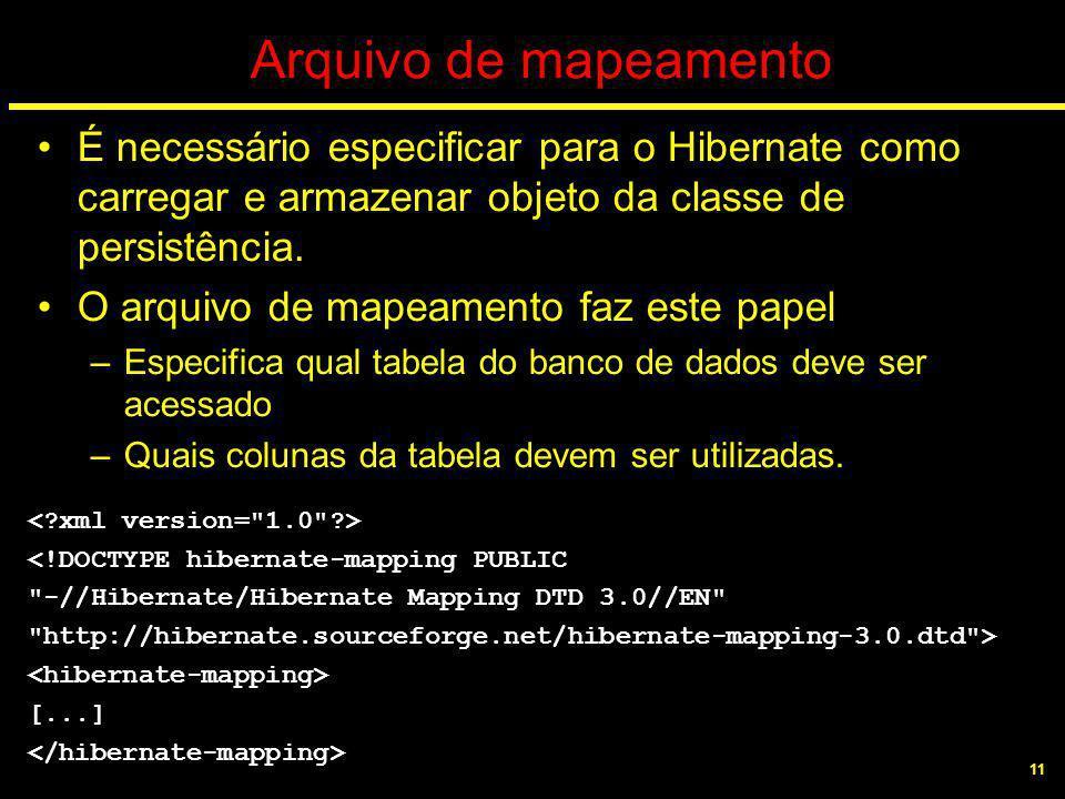 11 Arquivo de mapeamento É necessário especificar para o Hibernate como carregar e armazenar objeto da classe de persistência. O arquivo de mapeamento