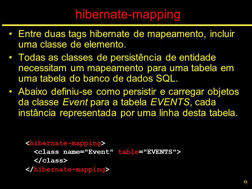 13 hibernate-mapping Entre duas tags hibernate de mapeamento, incluir uma classe de elemento. Todas as classes de persistência de entidade necessitam