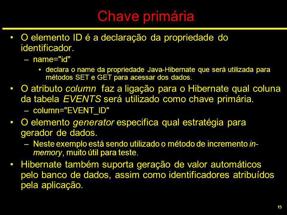 15 Chave primária O elemento ID é a declaração da propriedade do identificador. –name=