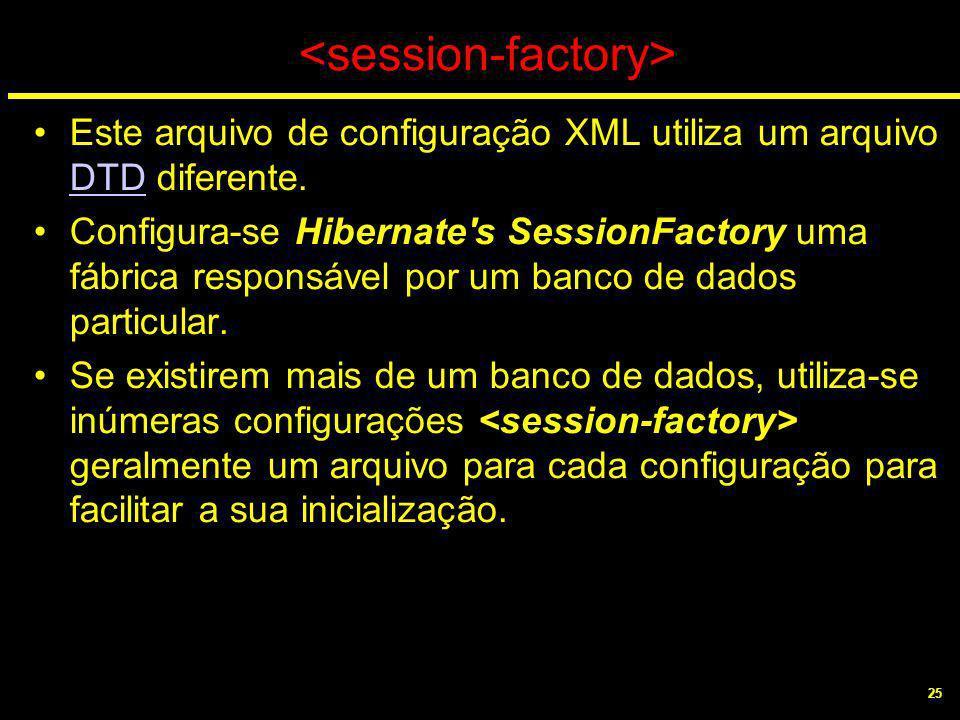 25 Este arquivo de configuração XML utiliza um arquivo DTD diferente. DTD Configura-se Hibernate's SessionFactory uma fábrica responsável por um banco