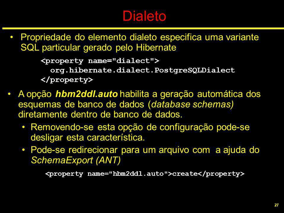 27 Dialeto Propriedade do elemento dialeto especifica uma variante SQL particular gerado pelo Hibernate A opção hbm2ddl.auto habilita a geração automá