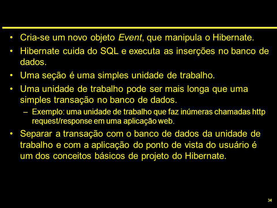 34 Cria-se um novo objeto Event, que manipula o Hibernate. Hibernate cuida do SQL e executa as inserções no banco de dados. Uma seção é uma simples un