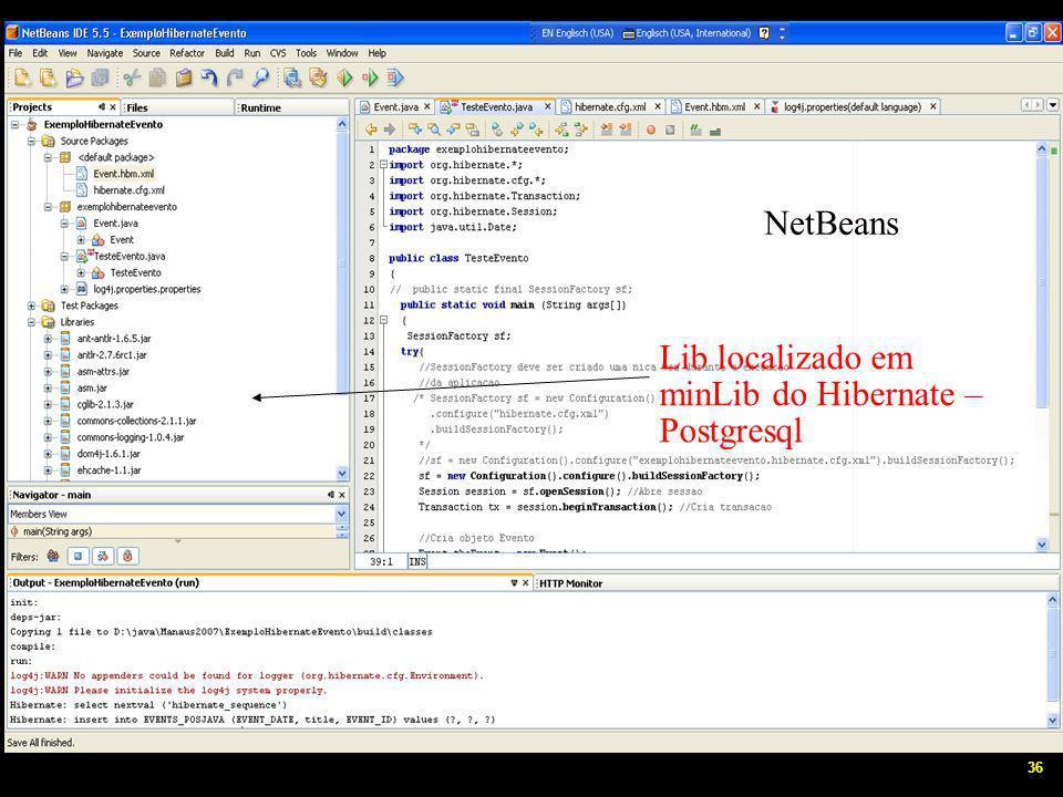 36 NetbeansEclipse Lib localizado em minLib do Hibernate – Postgresql NetBeans