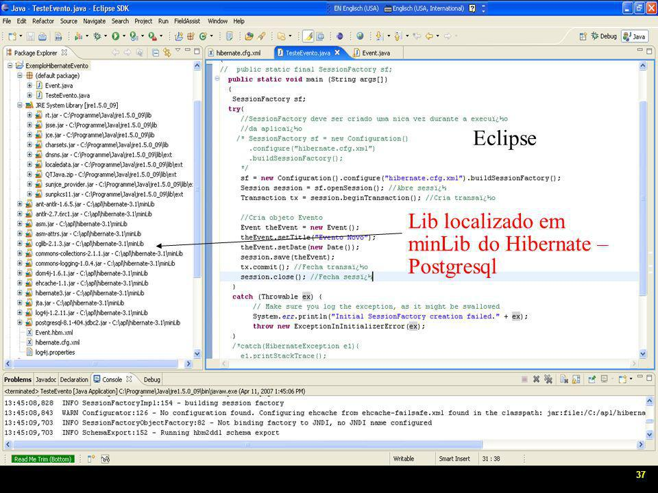 37 Eclipse Lib localizado em minLib do Hibernate – Postgresql